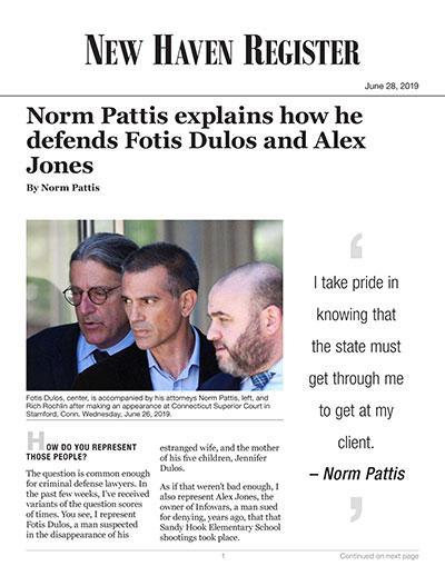 Norm Pattis explains how he defends Fotis Dulos and Alex Jones