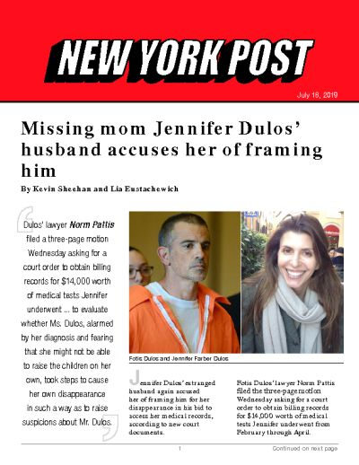 Missing mom Jennifer Dulos' husband accuses her of framing him