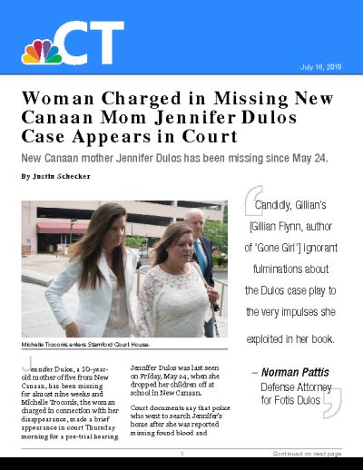 Woman Charged in Missing New Canaan Mom Jennifer Dulos Case Appears in Court