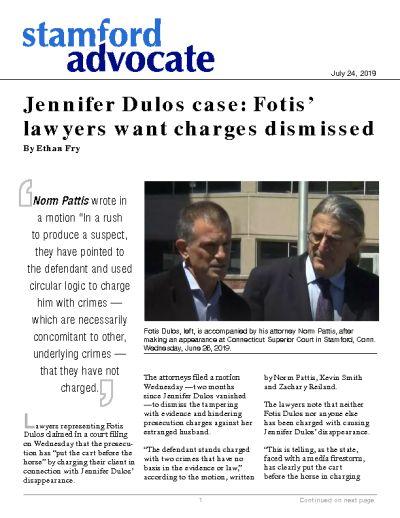 Jennifer Dulos case: Fotis' lawyers want charges dismissed