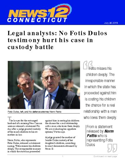 Legal analysts: No Fotis Dulos testimony hurt his case in custody battle