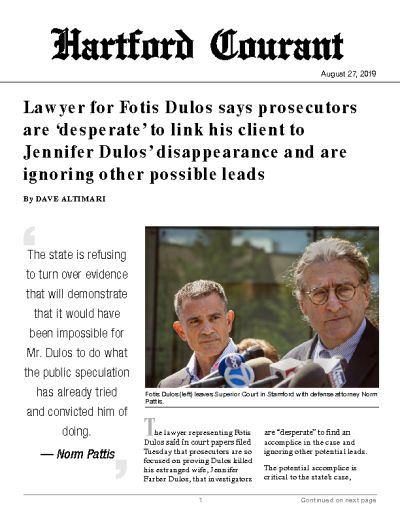 Lawyer for Fotis Dulos says prosecutors are 'desperate' to link his client to Jennifer Dulos' disappearance and are ignoring other possible leads
