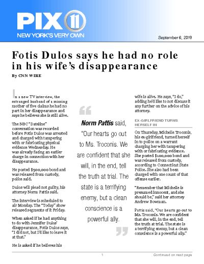 Fotis Dulos says he had no role in his wife's disappearance