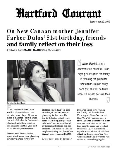 On New Canaan mother Jennifer Farber Dulos' 51st birthday, friends and family reflect on their loss