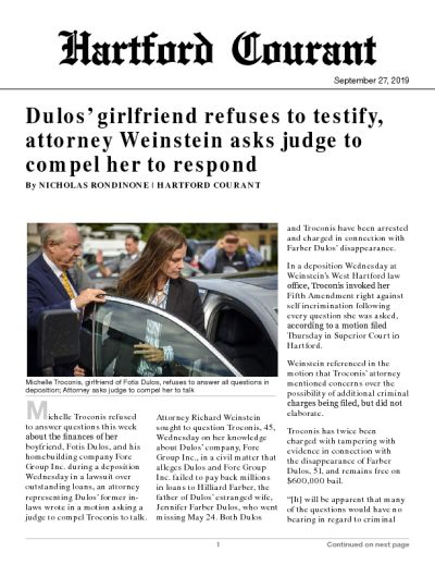 Michelle Troconis, girlfriend of Fotis Dulos, refuses to answer all questions in deposition; Attorney asks judge to compel her to talk