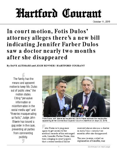 In court motion, Fotis Dulos' attorney alleges there's a new bill indicating Jennifer Farber Dulos saw a doctor nearly two months after she disappeared