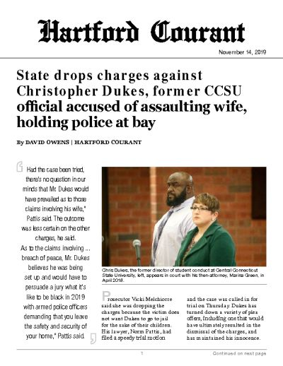 State drops charges against Christopher Dukes, former CCSU official accused of assaulting wife, holding police at bay