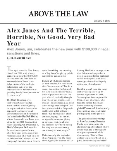 Alex Jones And The Terrible, Horrible, No Good, Very Bad Year