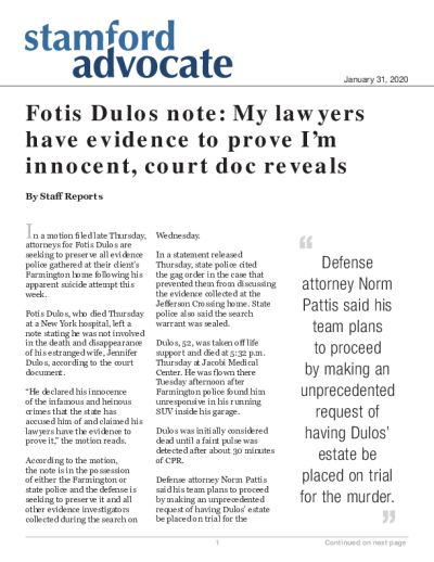 Fotis Dulos note: My lawyers have evidence to prove I'm innocent, court doc reveals