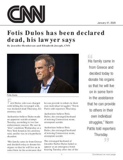 Fotis Dulos has been declared dead, his lawyer says