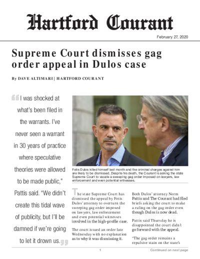 Supreme Court dismisses gag order appeal in Dulos case