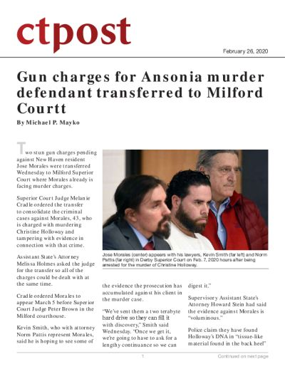 Gun charges for Ansonia murder defendant transferred to Milford Court