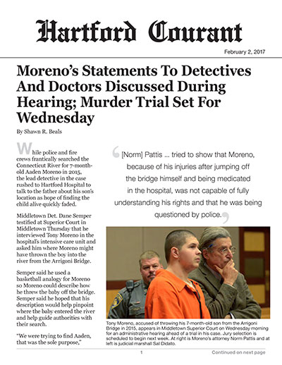 Moreno's Statements To Detectives And Doctors Discussed During Hearing; Murder Trial Set For Wednesday
