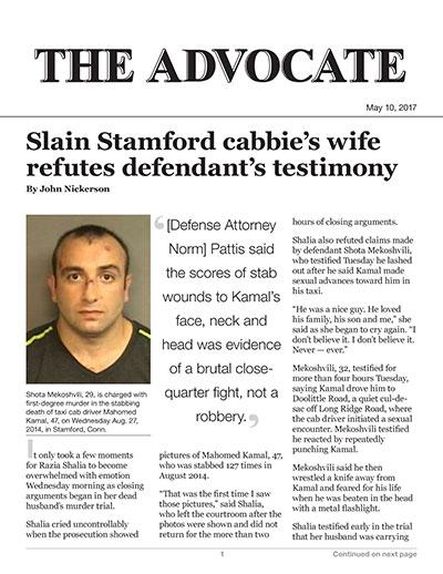 Slain Stamford cabbie's wife refutes defendant's testimony