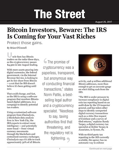 Bitcoin Investors, Beware: The IRS Is Coming for Your Vast Riches