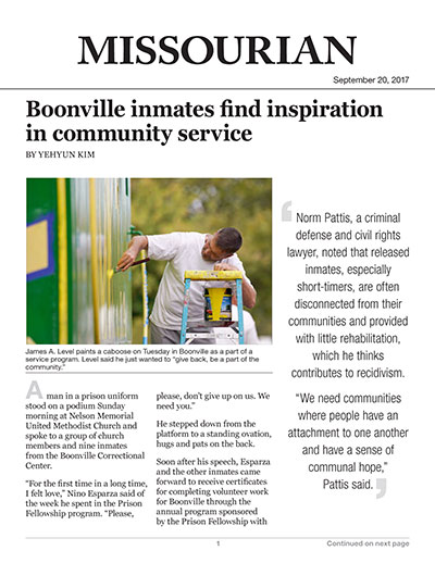 Boonville inmates find inspiration in community service