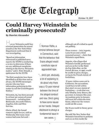 Could Harvey Weinstein be criminally prosecuted?