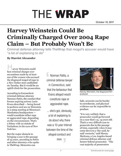 Harvey Weinstein Could Be Criminally Charged Over 2004 Rape Claim – But Probably Won't Be