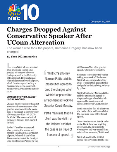 Charges Dropped Against Conservative Speaker After UConn Altercation
