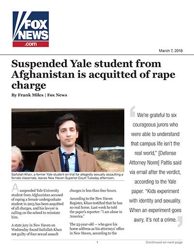 Suspended Yale student from Afghanistan is acquitted of rape charge