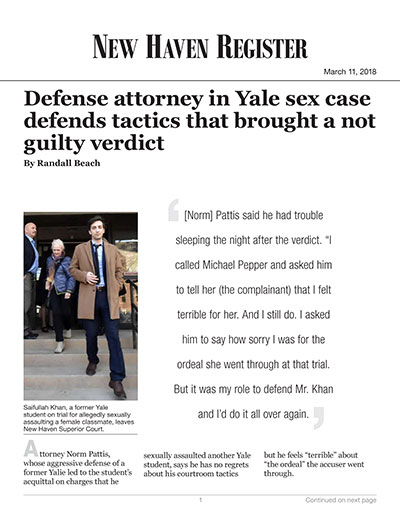 Defense attorney in Yale sex case defends tactics that brought a not guilty verdict