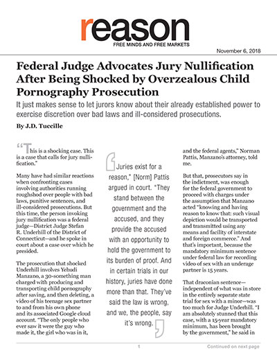 Federal Judge Advocates Jury Nullification After Being Shocked by Overzealous Child Pornography Prosecution