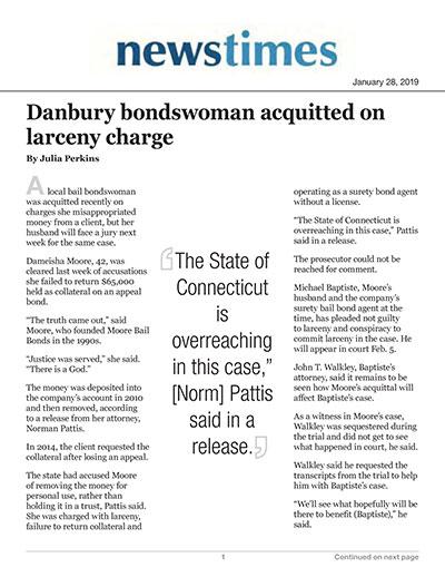 Danbury bondswoman acquitted on larceny charges