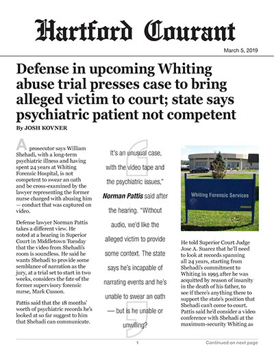 Defense in upcoming Whiting abuse trial presses case to bring alleged victim to court; state says psychiatric patient not competent