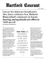Lawyer for Infowars broadcaster Alex Jones criticizes Sen. Richard Blumenthal's comments in Senate hearing, saying attacks are effort to 'chill speech'