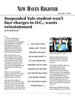 Suspended Yale student won't face charges in D.C., wants reinstatement